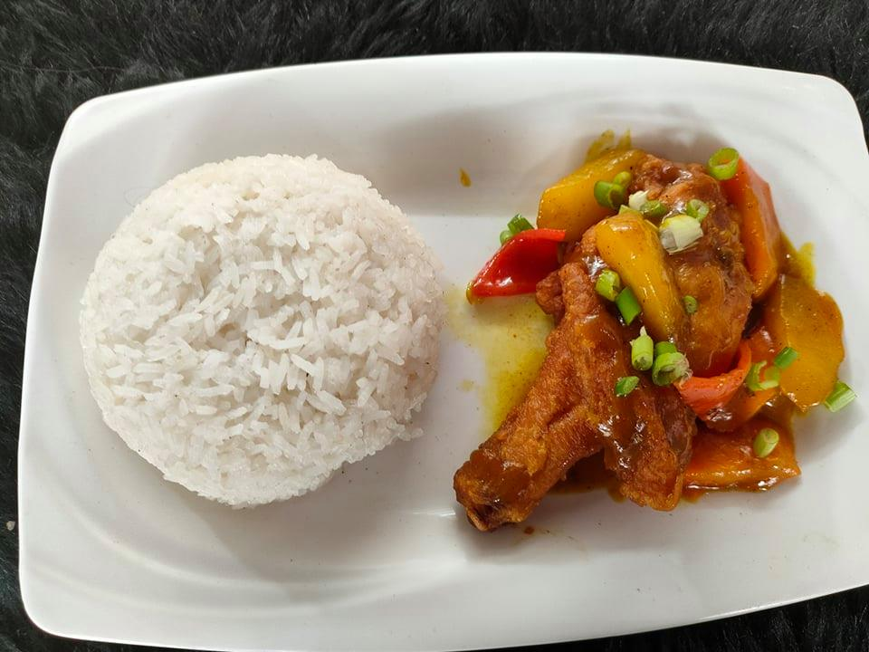 fried chicken curry with rice